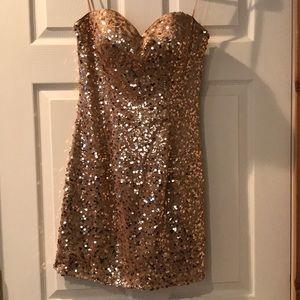 Dancing Queen Gold Sequin Dress